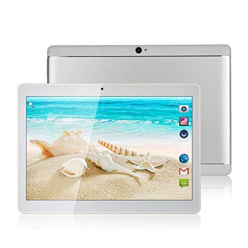 Tableta de 10 pulgadas Octa Core CPU Android 8.1, 4 GB de RAM, 64 GB de memoria interna, cámara, wifi, GPS, Dual SIM, sin bloqueo de red, tableta 3G, color metal plateado