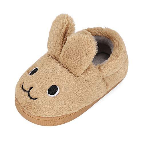 MK MATT KEELY Pojkar flickor tecknad kanin tofflor småbarn vinter varma plyschskor barn glidare, - Brun stil 2 - 26.5/28.5 EU