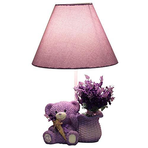 Lámpara de mesa Lámpara creativa encantadora lavanda oso de la lavanda led de la lámpara de la lámpara de dormitorio cama de la habitación decoración de cumpleaños regalo de cumpleaños Lámpara regulab