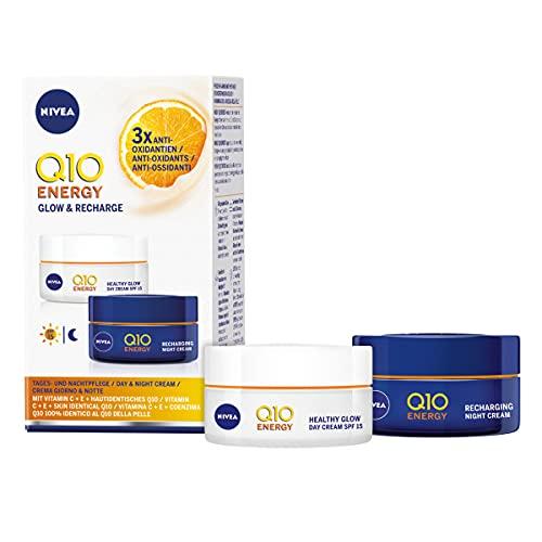 Nivea Q10 Energy Antirughe & Energizzante Crema Viso Giorno e Notte Con Vitamina C, Cofanetto Regalo