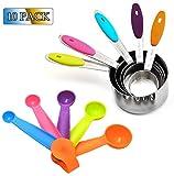 Gwolf Juego de tazas y cucharas medidoras, 5 cucharas medidoras de acero inoxidable con mango de silicona, 5 cucharas medidoras de plástico, juegos de cucharas medidoras para cocina, cocina, hornear
