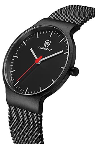 CHEETAH, Relojes de Moda para Hombre, Malla Ultrafina, Acero Inoxidable, Reloj Impermeable, Unisex, Minimalista, analógico, Relojes de Pulsera de Cuarzo (Negro Rojo)