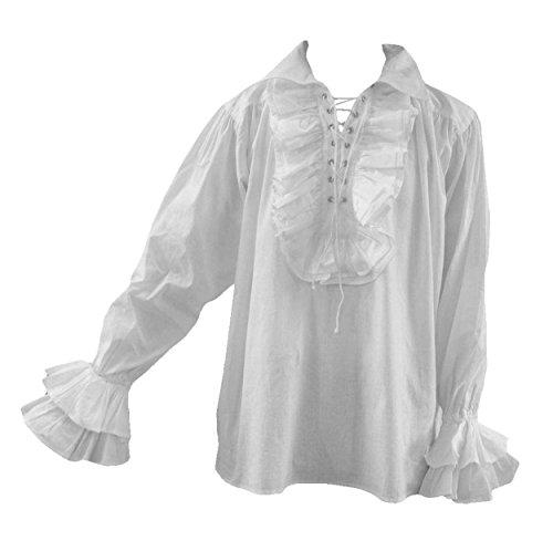 Goth mannen 80S jaren tachtig nieuwe romantische Frilly piraat shirt wit 2XL