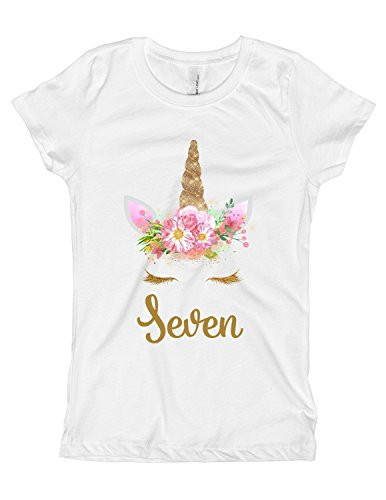 Girls Pink and Gold Unicorn Birthday Shirt Any Age OR Name 5