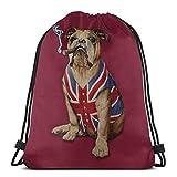 LREFON Bolsas de cuerdas para el gimnasio Bulldog inglés y bandera británica Mochilas Casual Unisex Escuela Bolsa de Cuerda Bolsas de Gimnasia 36*42cm