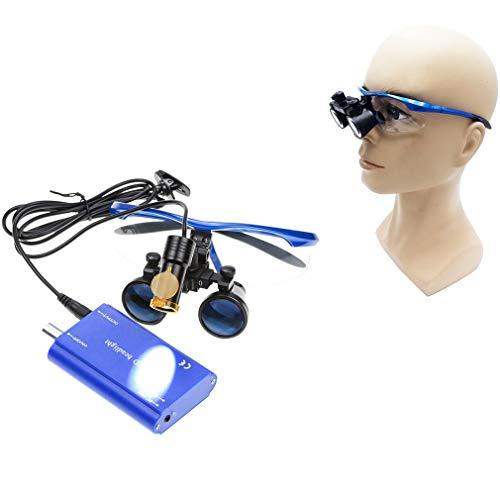 Ydshyth Lupa De Diadema con Luz LED, 3.5X 420Mm Distancia De Trabajo Lupas Binoculares Quirúrgicas De Vidrio Óptico + Lámpara De Luz LED De 5 W + Caja De Aluminio,Azul