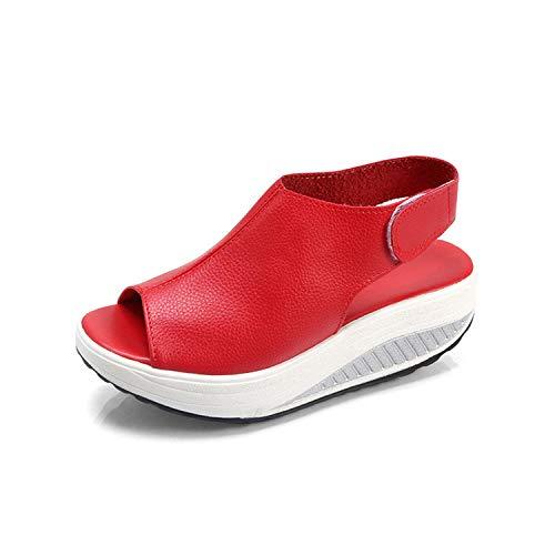 2019 Summer Female Sandals Vintage Wedges Platform Shoes Peep Toe Sandal High Heels,Red,8