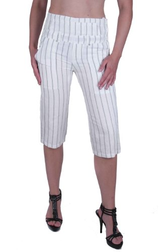 Diesel Mujeres Pantalones Capri Miracle Lino Blanco (W27)