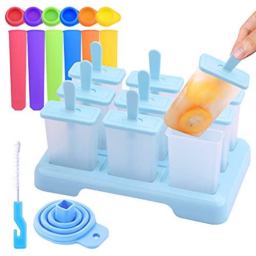 Paquete de 15 moldes para paletas de hielo con tapas Moldes para paletas de hielo Molde para paletas de hielo Moldes de silicona para paletas de hielo con embudo y cepillo de limpieza para adultos