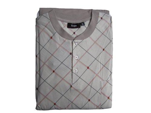 hajo 52354 Herren Pyjama Schlafanzug mit Knopfleiste/Brusttasche (52, beige)