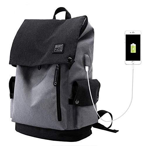 Outdoor Product/Fashion tas JYT Flap rugzak voor mannen en vrouwen met USB Opladen Port waterdichte 15.6 inch laptop rugzak voor school Outdoor sport Zakelijke reizen Grijs