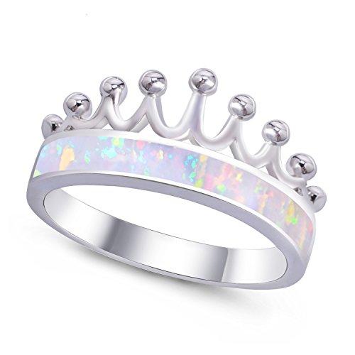 KELITCH Cl¨¢Sico Imperial Corona Sentando Anillo Plata Jewellry con Creado Blanco ?Palo - Tama?o 14
