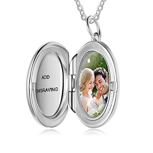 Smileface Personalised Sterling Silver Locket Necklace Customised Photo Round Pandant Necklaces for Women Girls Charm Jewelry Gift Picture and Engraving Text Keepsake Present Chain of 18 inches