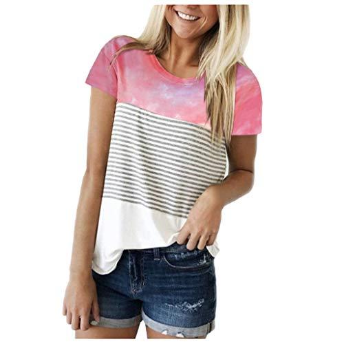 Xniral Damen T-Shirt Kurzarm Rundhals Streifen Patchwork Sommer Gedruckt Sports Oberteile Bluse Tunika Asymmetrisch Tops(a-Rosa,L)