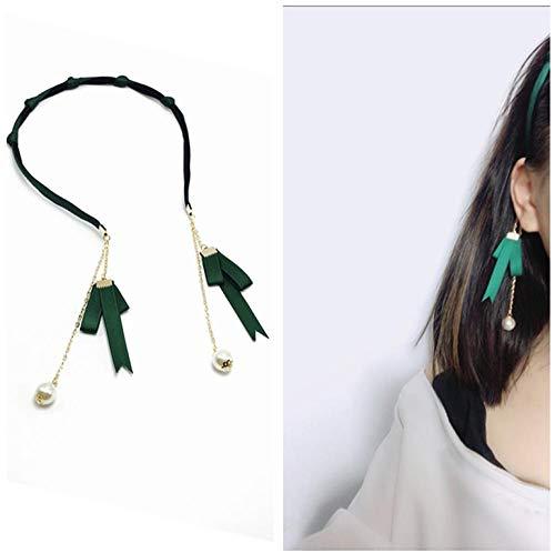 Accessori per capelli Accessori per capelli stella fiore ciondolo nappa orecchini falsi forcina per capelli dolce semplice fascia per capelli-fasciatura verde scuro + perla