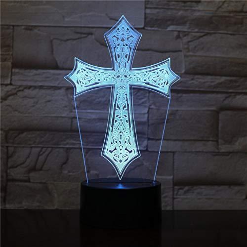 Wangzj 3D-Lampe, Nachtlicht, Jesus-Segene, Jungfrau Maria, Bibel, Kruzifix, 3D-LED-Beleuchtung, Nachttischlampe, Beleuchtung, Gebetlichter / 2