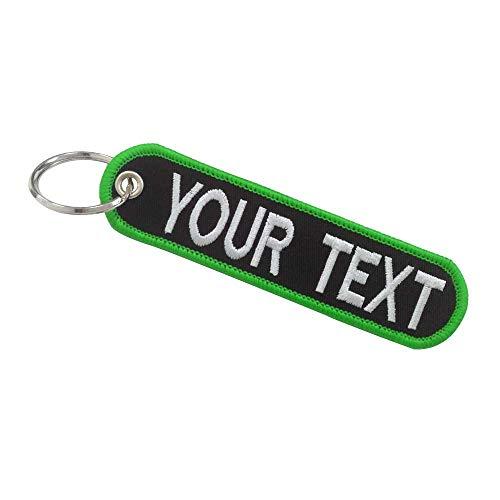 Grazioso portachiavi, accessorio per auto, moto, scooter, per chiavi elettroniche, personalizzabile, 2 pezzi, Sfondo nero con bordo verde.