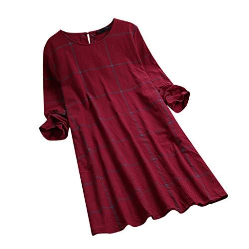 Casual Womens Tops Plus Size Blouses voor Vrouwen 2019 Lange Mouw T Shirt Jurken Losse Plaid Swing Tuniek Jurk