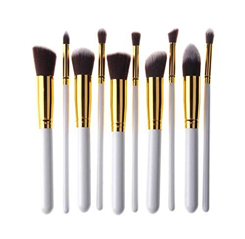 Pinceaux Maquillage Professionnel,10 pièces Cosmétique Pinceaux Kit,pour liquide Concealer Eye Synthétique Pinceaux de maquillage,Blanc