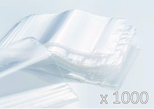 Druckverschlussbeutel - 1000 Stück (10 x 100 Beutel) - Stärke 50µ - Hohe Qualität - 60mm x 80mm - durchsichtig - Größe zu wählen