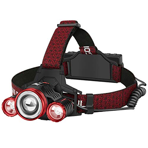 GOFORWILD Rechargeable Headlamp, Brightest 2000 Lumens LED Work Headlight,18650 USB Waterproof Flashlight with Work Light,Head Lights for Camping,Hiking, Outdoors (Three light sources)