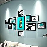 JJZD Foto Europea decoración de la Pared de Madera Marco de Fotos Combinación Conjunto de 11 (160 * 80cm) Salón sofá Dormitorio decoración Fondo (Blanco y Negro) (Color: B) Delicado (Color : A)