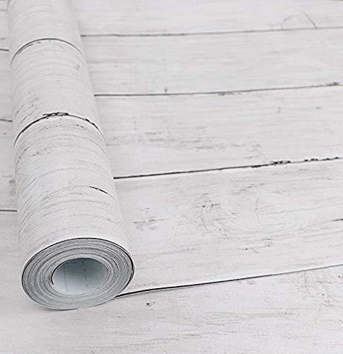 [Isdy] 壁紙 シール はがせる 壁紙 リメイク シート リフォーム ウォール ステッカー カッティング 幅45cm × 長さ 10m (白 楓 木目)