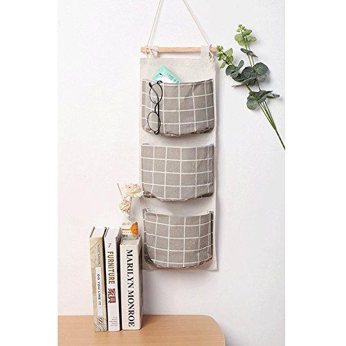 HomRing Hanging Storage Bag, Wall Mounted 3 Bags Nursery Storage Bag Over The Door Storage Pockets Fabric Wall Door Closet Hanging Storage Bag Organizer 2 Packs