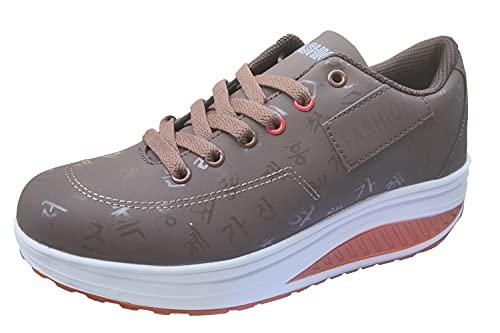 Gaatpot Damen Plateau Sneaker Keilabsatz Wedge Schuhe Leicht Freizeit Sportschuhe Bequem Turnschuhe,Braun,EU37=CN38