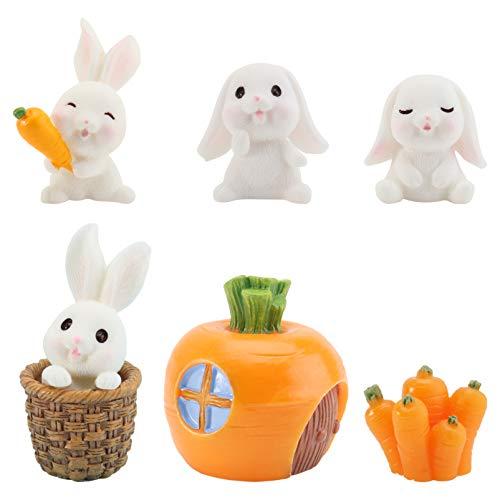 HEMOTON 7Pcs Ostern Miniatur Mini Hasen Figuren Kaninchen Tierfiguren Spielzeug Kuchen Topper Spielset für Aquarium Fee Garten Puppenhaus Pflanzer Dekor