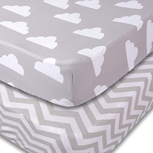 Jomolly Crib Sheets, 2 Pack Unisex Clouds and Chevron Fitted Soft Jersey Cotton Bedding