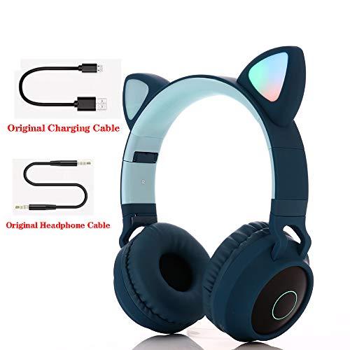 Bluetooth over-ear koptelefoon, over-ear koptelefoon Opvouwbare headset Actieve ruisonderdrukking Cat ear-koptelefoon Premium oplaadbaar HD-geluid voor school/pc/mobiel -,Blue