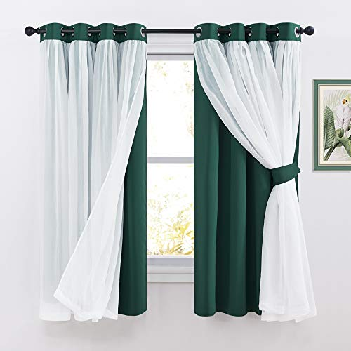PONY DANCE Bedroom Curtains Blackout - Sheer Drapes Crushed with Grommet Top Treatments Decoration for Short Windows, 52 x 63 in, Hunter Green, 2 Panels