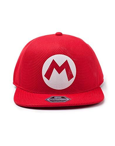 Difuzed Nintendo Super Bros. Mario Logo Seamless Cap Gorra de bisbol, Rojo (Red Red), Talla única Unisex Adulto