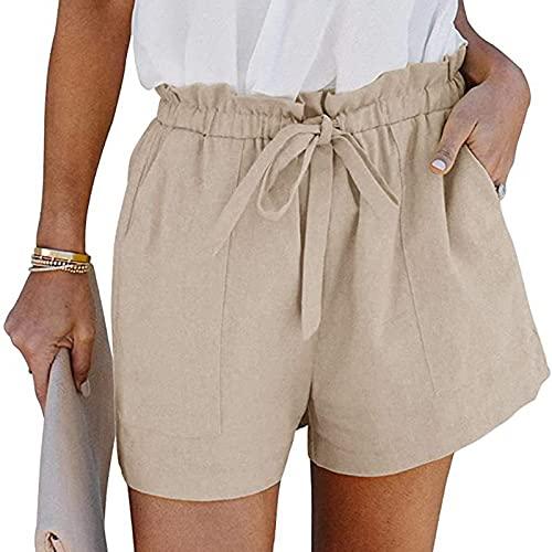 Junjie 2021 Modas Pantalones Cortos Casual de Color Liso Shorts Deporte con Bolsillos para Mujer Pantalones Deportivos Cintura Elástica Ajustable Pantalon Cortos Deportes Suelto y Transpirable