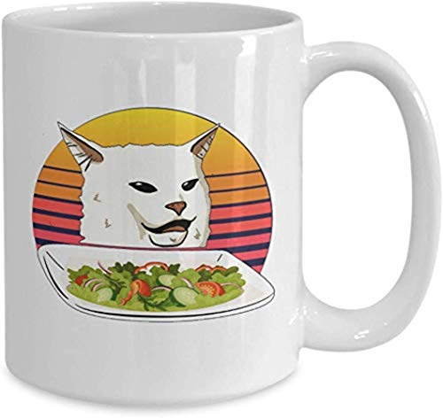 Cat Lovers Present Mug Woman Yelling At Confused White Cat At Dinner Table Funny Trending Dank Memes Coffee Mugs Cup Best Xmas For Men Women HEKIQX