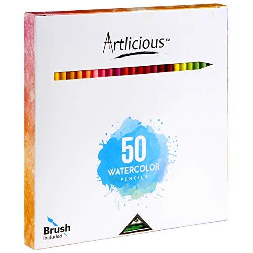 Artlicious - 50 Premium Distinct Watercolor Pencils for Adult Coloring Books - Bonus Sharpener - Color Names on Pencils