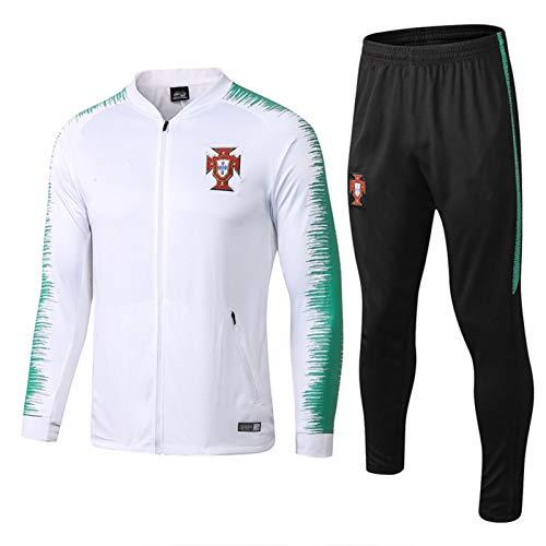 DDZY 19-20 portugiesischen Fußball-Trainingsanzug, Herbst und Winter High-Neck Zipper Langarm-Pullover Jacke,Weiß,L