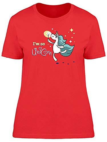 Camiseta feminina Im So Unicorn With Magic Wand, Vermelho, XG