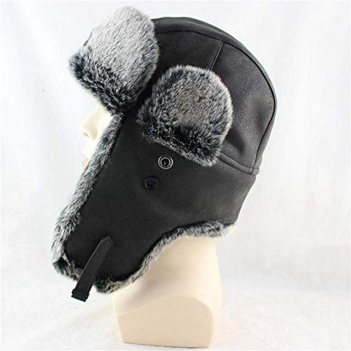 XYSQWZ Invierno Insignia Soviética Sombreros De Bombardero Orejeras Ruso Hombres Mujeres S Trapper Piloto Sombrero De Cuero De Imitación Moda Gorras De Nieve