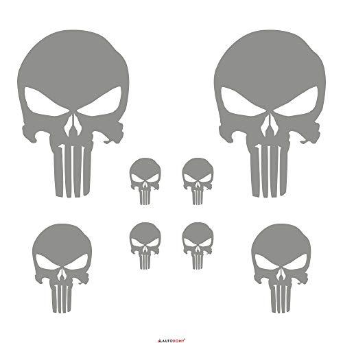 Autodomy Pegatinas Punisher Calavera Pack 8 Unidades para Coche o Moto (Plata)