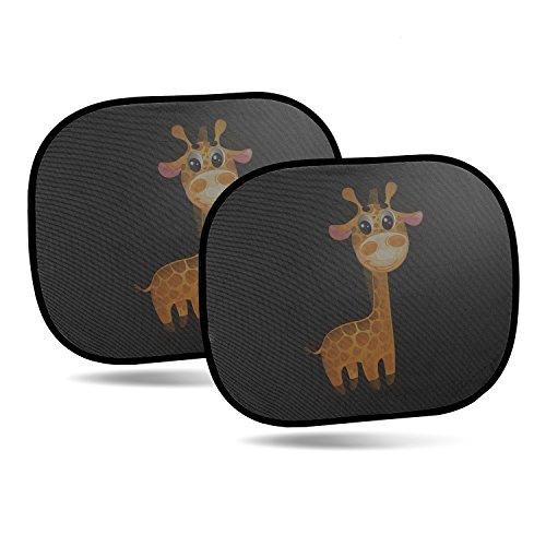 CARTO 2er-Pack selbstklebende Sonnenblenden für Autoscheiben, mit niedlichem Giraffenmotiv - Sonnenschutz für Kinder und Babys / für Seitenscheiben - Selbstklebend
