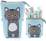 Estuche para lápices de dibujos animados con lindo gato,estuche para lápices,flexible,portátil,con cremallera,caja de papelería,regalo para compañeros de clase,amigos,adultos,oficina la escuela(azul)