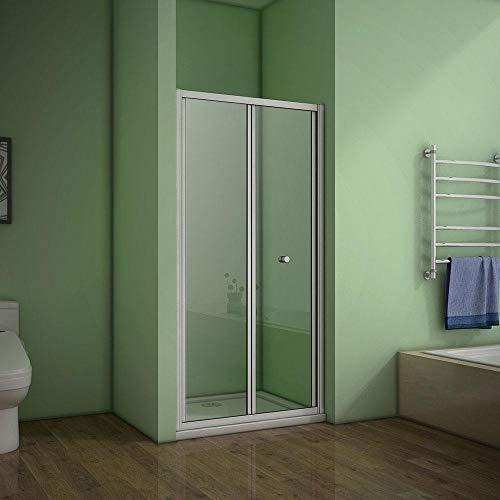 nis douchedeur 80x185cm,2-delige vouwdeur,mat grijs aluminium frame,5mm helder veiligheidsglas