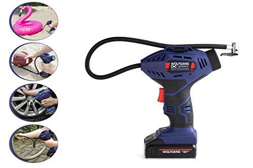 WOLFGANG Druckluft Kompressor Mini 18 V, Elektrische Akku Luftpumpe, 7,5 bar / 100 psi, 1300 mAh Li-Ion Akku, für Auto, Fahrrad, Motorrad, Luftmatratze, Schwimmhilfen