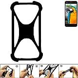 K-S-Trade Handyhülle für Vestel V3 5040 Schutz Hülle Silikon Bumper Cover Case Silikoncase TPU Softcase Schutzhülle Smartphone Stoßschutz, schwarz (1x)