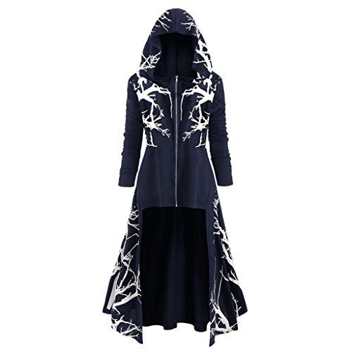 serliy😛Damen Vintage Gothic Mantel Kostüme Punk Hooded Pullover,Damenmode mit Kapuze Plus Size Vintage Mantel High Low Sweater Bluse Tops