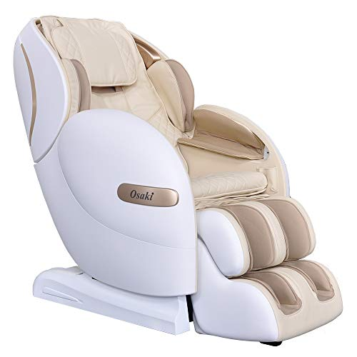 Osaki OS-Monarch Zero Gravity 3D SL-Track Massage Chair with Space Saving Technology in Cream, Bluetooth Connection for Speaker, 9 Unique Auto-Programs, 4 Massage Styles, USB Connector (Cream)