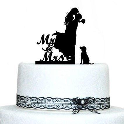 Romantic Kiss Braut und Bräutigam Weddding Kuchen Topper mit Hund Silhouette Tortenaufsatz MR und Mrs Hochzeit Cake Topper Acryl