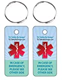 TLC Safety By Design Medical ICE Alert in Case of Emergency Allergy Safety I.D. Identification Plastic 2 Pk. Key Tags and Keychain Rings with Emergency Contact Call Card (Qty. 1 from TLC)